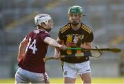 20 July 2021; Peter McDonald of Kilkenny in action against Donal O'Shea of Galway during the Leinster GAA Hurling U20 Championship semi-final match between Kilkenny and Galway at Bord Na Mona O'Connor Park in Tullamore, Offaly. Photo by David Fitzgerald/Sportsfile