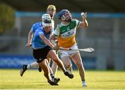 20 July 2021; Luke Nolan of Offaly in action against Paddy Doyle of Dublin during the Leinster GAA Hurling U20 Championship semi-final match between Dublin and Offaly at Parnell Park in Dublin. Photo by Daire Brennan/Sportsfile