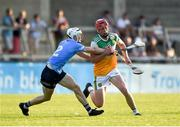 20 July 2021; Charlie Mitchell of Offaly in action against Davy Crowe of Dublin during the Leinster GAA Hurling U20 Championship semi-final match between Dublin and Offaly at Parnell Park in Dublin. Photo by Daire Brennan/Sportsfile