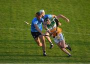 20 July 2021; Niall Lyons of Offaly in action against Iain Ó hEithir of Dublin during the Leinster GAA Hurling U20 Championship semi-final match between Dublin and Offaly at Parnell Park in Dublin. Photo by Daire Brennan/Sportsfile