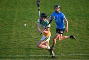 20 July 2021; Niall Lyons of Offaly in action against Séamus Fenton of Dublin during the Leinster GAA Hurling U20 Championship semi-final match between Dublin and Offaly at Parnell Park in Dublin. Photo by Daire Brennan/Sportsfile