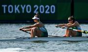 21 July 2021; Team Ireland Women's Pair rowers Monika Dukarska, left, and Aileen Crowley training at the Sea Forest Waterway ahead of the start of the 2020 Tokyo Summer Olympic Games in Tokyo, Japan. Photo by Brendan Moran/Sportsfile