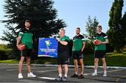 21 July 2021; Irish senior international players, from left, Jason Killeen, Sean Flood and John Carroll, alongside head coach Mark Keenan, centre, at the National Basketball Arena for the announcement of senior Irish men's squad ahead of the FIBA European Championship for Small Countries at the National Basketball Arena, Dublin. Photo by Eóin Noonan/Sportsfile