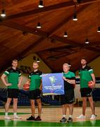 21 July 2021; Irish senior international players, from right, Jason Killeen, John Carroll and Sean Flood, alongside head coach Mark Keenan at the National Basketball Arena for the announcement of senior Irish men's squad ahead of the FIBA European Championship for Small Countries at the National Basketball Arena, Dublin. Photo by Eóin Noonan/Sportsfile