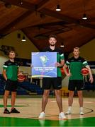 21 July 2021; Irish senior international players, Jason Killeen, centre, John Carroll, right, and Sean Flood at the National Basketball Arena for the announcement of senior Irish men's squad ahead of the FIBA European Championship for Small Countries at the National Basketball Arena, Dublin. Photo by Eóin Noonan/Sportsfile