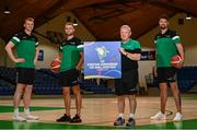 21 July 2021; Irish senior international players, from right, Jason Killeen, Sean Flood and John Carroll, alongside head coach Mark Keenan at the National Basketball Arena for the announcement of senior Irish men's squad ahead of the FIBA European Championship for Small Countries at the National Basketball Arena, Dublin. Photo by Eóin Noonan/Sportsfile