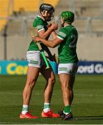 18 July 2021; Gearoid Hegarty, left, and Robbie Hanley of Limerick celebrate after the Munster GAA Hurling Senior Championship Final match between Limerick and Tipperary at Páirc Uí Chaoimh in Cork. Photo by Ray McManus/Sportsfile