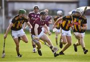 20 July 2021; Diarmuid Kilcommins of Galway in action against Peter McDonald, left, and Timmy Clifford of Kilkenny during the Leinster GAA Hurling U20 Championship semi-final match between Kilkenny and Galway at Bord Na Mona O'Connor Park in Tullamore, Offaly. Photo by David Fitzgerald/Sportsfile