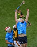 17 July 2021; Liam Rushe, right, and Paddy Smyth of Dublin in action against TJ Reid of Kilkenny during the Leinster GAA Senior Hurling Championship Final match between Dublin and Kilkenny at Croke Park in Dublin. Photo by Stephen McCarthy/Sportsfile