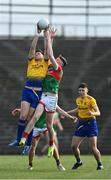 21 July 2021; Keith Doyle of Roscommon and Connell Dempsey of Mayo contest the throw-in at the start of the EirGrid Connacht GAA Football U20 Championship Final match between Mayo and Roscommon at Elverys MacHale Park in Castlebar, Mayo. Photo by Piaras Ó Mídheach/Sportsfile