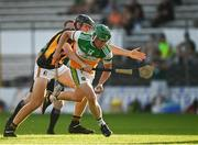 21 July 2021; Andrew Coakley of Offaly in action against Bill Hughes of Kilkenny during the Electric Ireland Leinster GAA Minor Hurling Championship Semi-Final match between Kilkenny and Offaly at UPMC Nowlan Park in Kilkenny. Photo by Eóin Noonan/Sportsfile