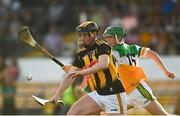 21 July 2021; Evan Rudkins of Kilkenny in action against Adam Screeney of Offaly during the Electric Ireland Leinster GAA Minor Hurling Championship Semi-Final match between Kilkenny and Offaly at UPMC Nowlan Park in Kilkenny. Photo by Eóin Noonan/Sportsfile