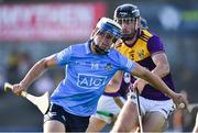 21 July 2021; Callum Walsh of Dublin in action against Eoin Whelan of Wexford during the Electric Ireland Leinster GAA Minor Hurling Championship Semi-Final match between Dublin and Wexford at Chadwicks Wexford Park in Wexford. Photo by Daire Brennan/Sportsfile