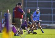 21 July 2021; Cian Ó Tuama of Wexford in action against Liam Garrigan of Dublin during the Electric Ireland Leinster GAA Minor Hurling Championship Semi-Final match between Dublin and Wexford at Chadwicks Wexford Park in Wexford. Photo by Daire Brennan/Sportsfile