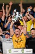 21 July 2021; Roscommon captain Colin Walsh lifts the cup after the EirGrid Connacht GAA Football U20 Championship Final match between Mayo and Roscommon at Elverys MacHale Park in Castlebar, Mayo. Photo by Piaras Ó Mídheach/Sportsfile
