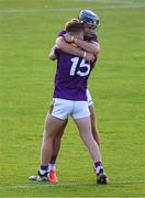 21 July 2021; Daragh Murphy, right, and Luke Murphy of Wexford celebrate after the Electric Ireland Leinster GAA Minor Hurling Championship Semi-Final match between Dublin and Wexford at Chadwicks Wexford Park in Wexford. Photo by Daire Brennan/Sportsfile