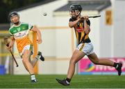 21 July 2021; Harry Shine of Kilkenny shoots to score a goal for his side during the Electric Ireland Leinster GAA Minor Hurling Championship Semi-Final match between Kilkenny and Offaly at UPMC Nowlan Park in Kilkenny. Photo by Eóin Noonan/Sportsfile