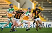 21 July 2021; Colin Spain of Offaly is tackled by Killian Doyle of Kilkenny during the Electric Ireland Leinster GAA Minor Hurling Championship Semi-Final match between Kilkenny and Offaly at UPMC Nowlan Park in Kilkenny. Photo by Eóin Noonan/Sportsfile