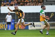 21 July 2021; Cilian Hackett of Kilkenny celebrates after scoring a point during the Electric Ireland Leinster GAA Minor Hurling Championship Semi-Final match between Kilkenny and Offaly at UPMC Nowlan Park in Kilkenny. Photo by Eóin Noonan/Sportsfile