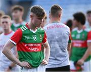 21 July 2021; Dylan Thornton of Mayo after his side's defeat in the EirGrid Connacht GAA Football U20 Championship Final match between Mayo and Roscommon at Elverys MacHale Park in Castlebar, Mayo. Photo by Piaras Ó Mídheach/Sportsfile