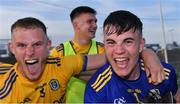 21 July 2021; Roscommon players Colin Walsh, left, and Conor Carroll celebrate after their side's victory in the EirGrid Connacht GAA Football U20 Championship Final match between Mayo and Roscommon at Elverys MacHale Park in Castlebar, Mayo. Photo by Piaras Ó Mídheach/Sportsfile