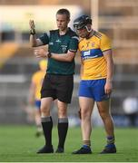 19 July 2021; Referee Michael Kennedy in conversation with Darragh Healy of Clare during the Munster GAA Hurling U20 Championship semi-final match between Limerick and Clare at the LIT Gaelic Grounds in Limerick. Photo by Ben McShane/Sportsfile