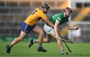 19 July 2021; Ronan Fox of Limerick and Darragh Healy of Clare during the Munster GAA Hurling U20 Championship semi-final match between Limerick and Clare at the LIT Gaelic Grounds in Limerick. Photo by Ben McShane/Sportsfile