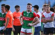 21 July 2021; Connell Dempsey of Mayo after his side's defeat in the EirGrid Connacht GAA Football U20 Championship Final match between Mayo and Roscommon at Elverys MacHale Park in Castlebar, Mayo. Photo by Piaras Ó Mídheach/Sportsfile