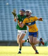 19 July 2021; Aidan O'Connor of Limerick and Adam Hogan of Clare during the Munster GAA Hurling U20 Championship semi-final match between Limerick and Clare at the LIT Gaelic Grounds in Limerick. Photo by Ben McShane/Sportsfile