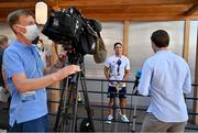 22 July 2021; Team Ireland rugby 7s player Greg O'Shea is interviewed during a media conference at the Olympic Village ahead of the start of the 2020 Tokyo Summer Olympic Games in Tokyo, Japan. Photo by Brendan Moran/Sportsfile