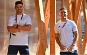 22 July 2021; Team Ireland rugby 7s players Bryan Mollen, left, and Greg O'Shea after a media conference at the Olympic Village ahead of the start of the 2020 Tokyo Summer Olympic Games in Tokyo, Japan. Photo by Brendan Moran/Sportsfile