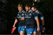 22 July 2021; Vakh Abdaladze, centre, with James Tracy and Cian Healy as Leinster Rugby return to training at Leinster Rugby Headquarters in Dublin. Photo by Harry Murphy/Sportsfile