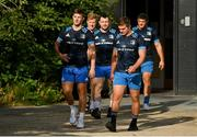 22 July 2021; Leinster players, from left, Mark Hernan, James Tracy, Cian Healy, Scott Penny and Vakh Abdaladze as Leinster Rugby return to training at Leinster Rugby Headquarters in Dublin. Photo by Harry Murphy/Sportsfile