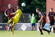 22 July 2021; Nélito Carlos Dos Santos Da Cruz of F91 Dudelange in action against Georgie Kelly, left, and Keith Buckley of Bohemians during the UEFA Europa Conference League second qualifying round first leg match between F91 Dudelange and Bohemians at Stade Jos Nosbaum in Dudelange, Luxembourg. Photo by Gerry Schmit/Sportsfile