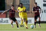 22 July 2021; Nélito Carlos Dos Santos Da Cruz of F91 Dudelange in action against Ali Coote of Bohemians, left, during the UEFA Europa Conference League second qualifying round first leg match between F91 Dudelange and Bohemians at Stade Jos Nosbaum in Dudelange, Luxembourg. Photo by Gerry Schmit/Sportsfile