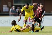 22 July 2021; Liam Burt of Bohemians in action against Ricardo Delgado, centre, and Charles Morren of F91 Dudelange during the UEFA Europa Conference League second qualifying round first leg match between F91 Dudelange and Bohemians at Stade Jos Nosbaum in Dudelange, Luxembourg. Photo by Gerry Schmit/Sportsfile