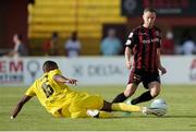 22 July 2021; Liam Burt of Bohemians in action against Ricardo Delgado of F91 Dudelange during the UEFA Europa Conference League second qualifying round first leg match between F91 Dudelange and Bohemians at Stade Jos Nosbaum in Dudelange, Luxembourg. Photo by Gerry Schmit/Sportsfile