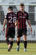22 July 2021; Rory Feely and Dawson Devoy of Bohemians after the UEFA Europa Conference League second qualifying round first leg match between F91 Dudelange and Bohemians at Stade Jos Nosbaum in Dudelange, Luxembourg. Photo by Gerry Schmit/Sportsfile