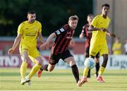 22 July 2021; Conor Levingston of Bohemians in action against Eliot Gashi of F91 Dudelange during the UEFA Europa Conference League second qualifying round first leg match between F91 Dudelange and Bohemians at Stade Jos Nosbaum in Dudelange, Luxembourg. Photo by Gerry Schmit/Sportsfile