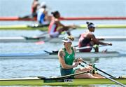 23 July 2021; Sanita Pušpure of Ireland before her heat of the Women's Single Sculls at the Sea Forest Waterway during the 2020 Tokyo Summer Olympic Games in Tokyo, Japan. Photo by Seb Daly/Sportsfile