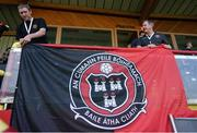 22 July 2021; Bohemians COO Daniel Lambert, left, and Stephen Lambert, Bohemians Secretary, hang up a banner before the UEFA Europa Conference League second qualifying round first leg match between F91 Dudelange and Bohemians at Stade Jos Nosbaum in Dudelange, Luxembourg. Photo by Gerry Schmit/Sportsfile