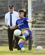 21 July 2021; Roscommon goalkeeper Conor Carroll is beaten for a goal from a penalty by Connell Dempsey of Mayo during the EirGrid Connacht GAA Football U20 Championship Final match between Mayo and Roscommon at Elverys MacHale Park in Castlebar, Mayo. Photo by Piaras Ó Mídheach/Sportsfile
