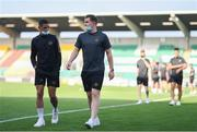 23 July 2021; Galway United players Mikey Place, left, and Padraic Cunningham inspect the pitch before the FAI Cup first round match between Shamrock Rovers and Galway United at Tallaght Stadium in Dublin. Photo by Ben McShane/Sportsfile