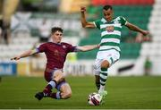 23 July 2021; Graham Burke of Shamrock Rovers is tackled by Alex Murphy of Galway United during the FAI Cup first round match between Shamrock Rovers and Galway United at Tallaght Stadium in Dublin. Photo by Ben McShane/Sportsfile