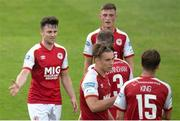 23 July 2021; Jayson McClelland, left, of St. Patrick's Athletic celebrates with team-mates after scoring his side's second goal during the FAI Cup First Round match between St. Patrick's Athletic and Bray Wanderers at Richmond Park in Dublin. Photo by David Kiberd/Sportsfile
