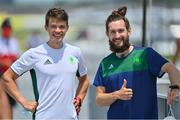 24 July 2021; Fintan McCarthy, left, and Paul O'Donovan of Ireland after finishing in 1st place in the heats of the Lightweight Men's Double Sculls at the Sea Forest Waterway during the 2020 Tokyo Summer Olympic Games in Tokyo, Japan. Photo by Seb Daly/Sportsfile