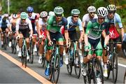 24 July 2021; Nicolas Roche, left, and Eddie Dunbar of Ireland during the men's cycling road race from Musashinonomori Park to Fuji International Speedway during the 2020 Tokyo Summer Olympic Games in Tokyo, Japan. Photo by Alex Broadway/Sportsfile