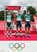 24 July 2021; Team Ireland cyclists, from left, Eddie Dunbar, Daniel Martin and Nicolas Roche before the men's cycling road race from Musashinonomori Park to Fuji International Speedway during the 2020 Tokyo Summer Olympic Games in Tokyo, Japan. Photo by Alex Whitehead/Sportsfile