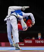 24 July 2021; Jack Woolley of Ireland, right, in action against Lucas Lautaro Guzman of Argentina during the men's -58Kg taekwondo round of 16 at the Makuhari Messe Hall during the 2020 Tokyo Summer Olympic Games in Tokyo, Japan. Photo by Brendan Moran/Sportsfile