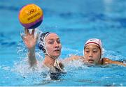 24 July 2021; Paige Hauschild of USA and Akari Inaba of Japan in action during the Women's Preliminary Round Group B match between Japan and United States at the Tatsumi Water Polo Centre during the 2020 Tokyo Summer Olympic Games in Tokyo, Japan. Photo by Ramsey Cardy/Sportsfile